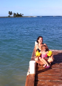 Mommy and Sofia on dock