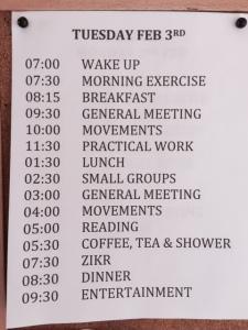 schedule week 2
